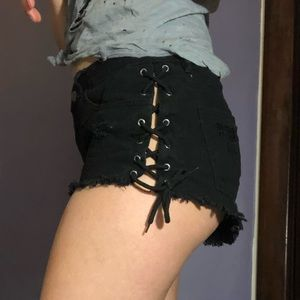 Distressed tie shorts